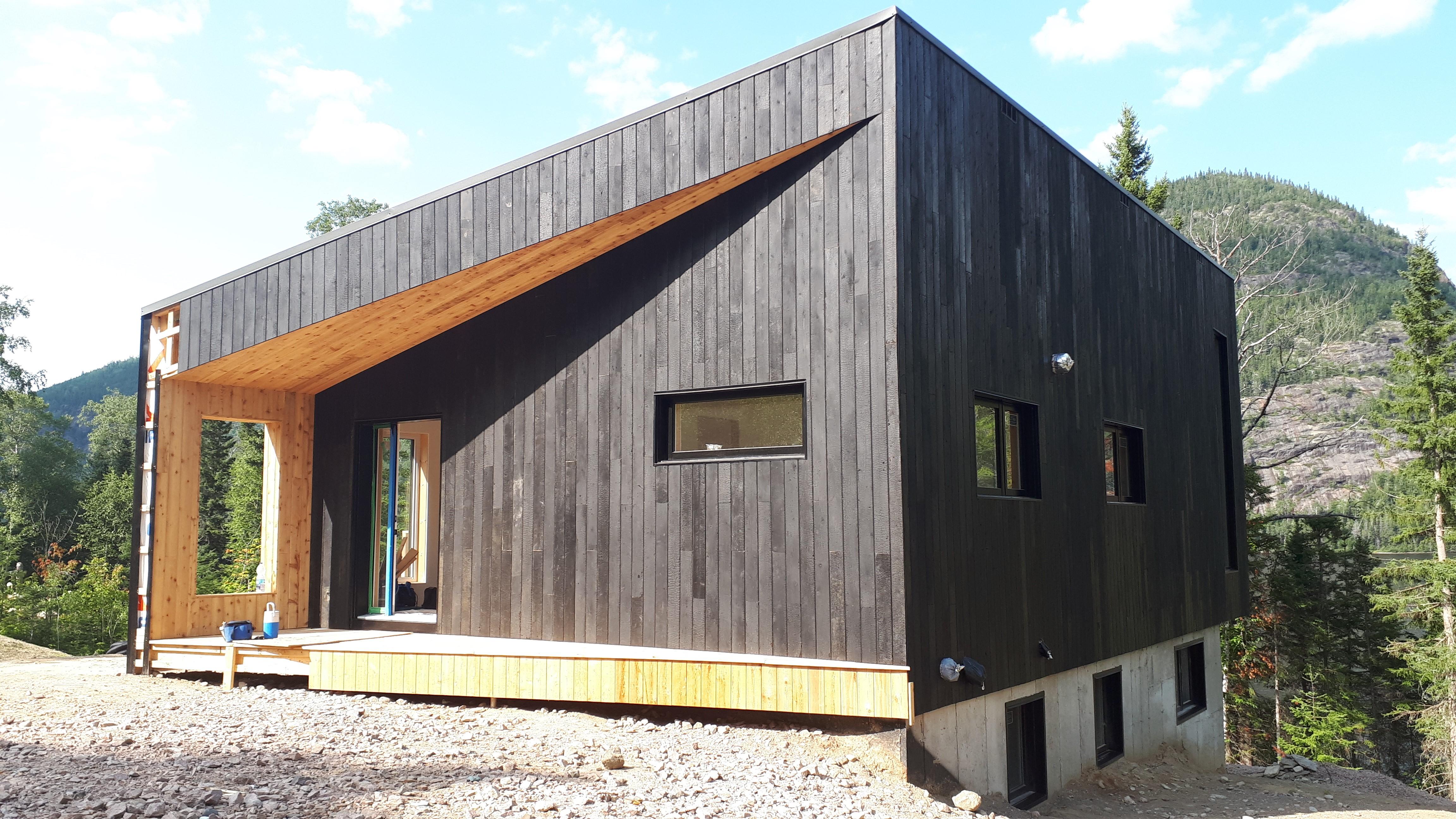 Maison design en bois brûlé